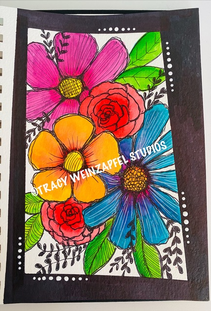 journal page with flowers