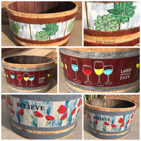 painted wine barrels