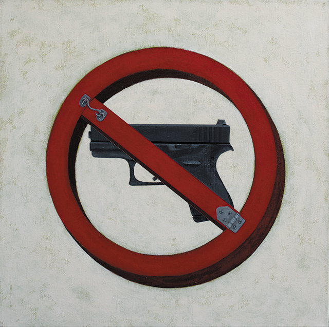 Glock Blocker painting by Gabe Langholtz