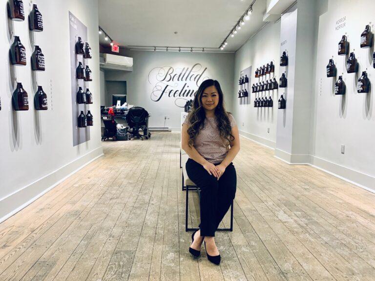 Doris Wai at her Bottled Feelings exhibit