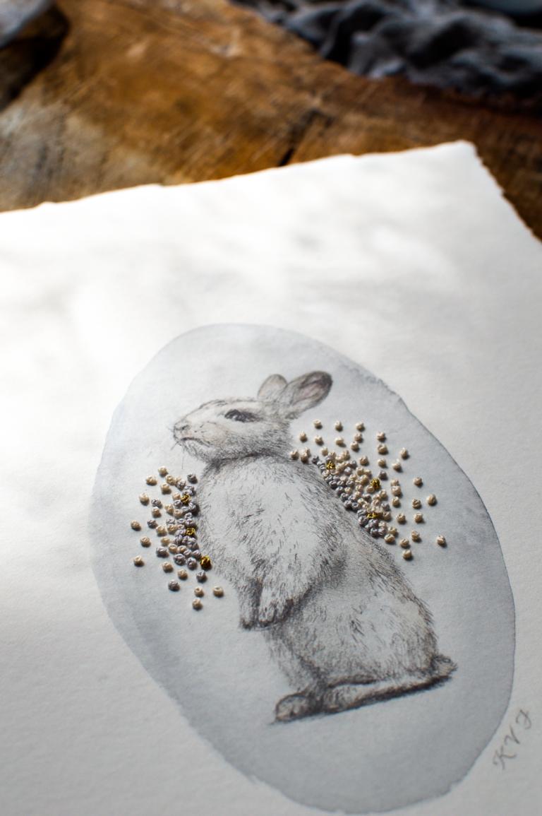 Rabbit embroidery illustration