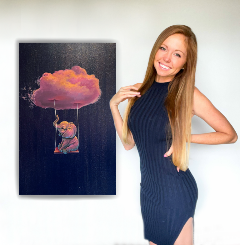 Andrea Ehrhardt with painting